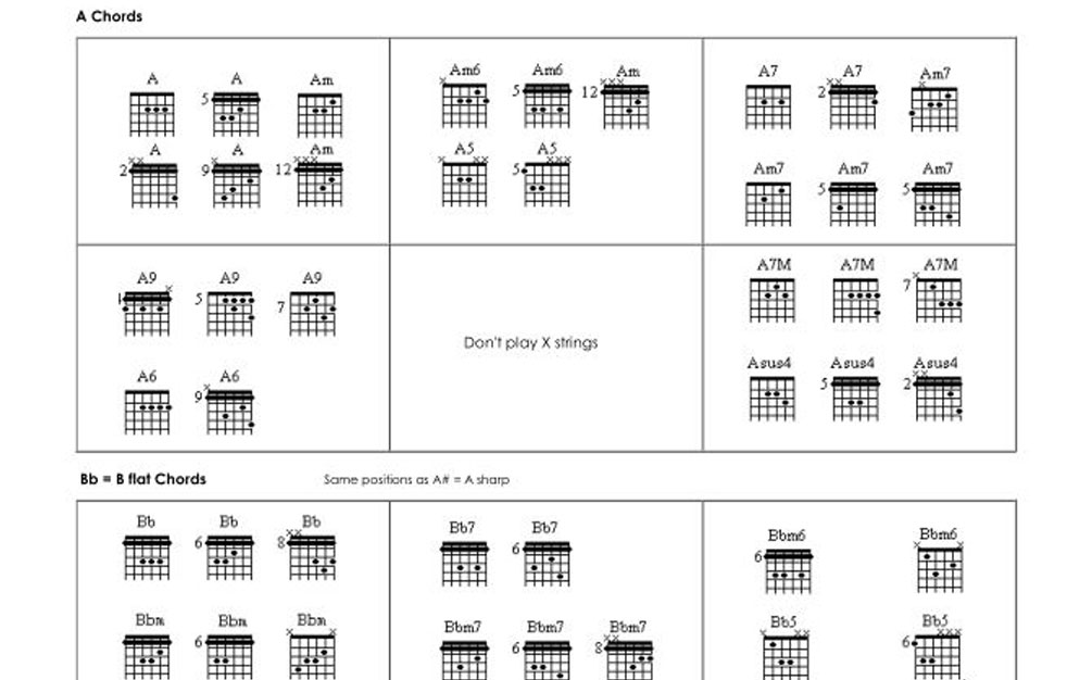 Guitar Chords For Beginners Pdf Booklet Guitar Mg Records